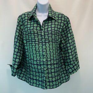 Patchington Graphic Silk Blouse - Size L